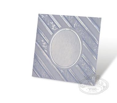 Birchas Hamazon, Light Blue Square, Velvet Collection, Diagonal Lines -3 Fold 4x4