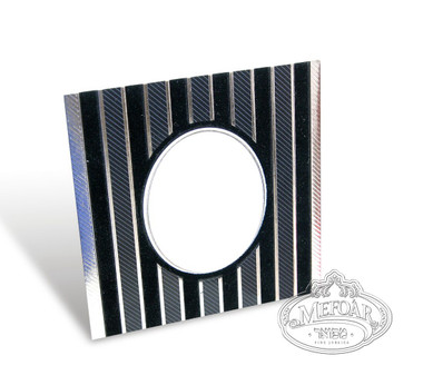 Birchas Hamazon, Black Square, Velvet Collection, Vertical Lines -3 Fold 4x4