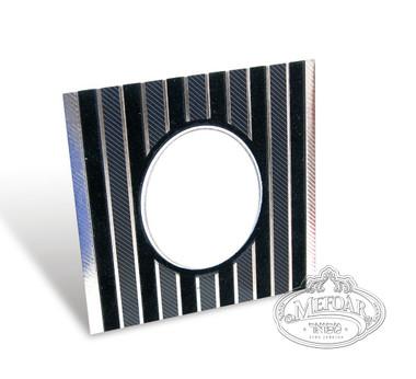Birchas Hamazon, Black Square, Velvet Collection, Vertical Lines -3 Fold 4x4