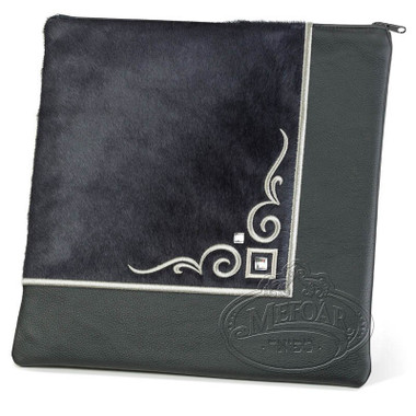 Aristocratic Motifs, Modern Style Tallis / Tefillin Bag, Black/Grey Fur, LF