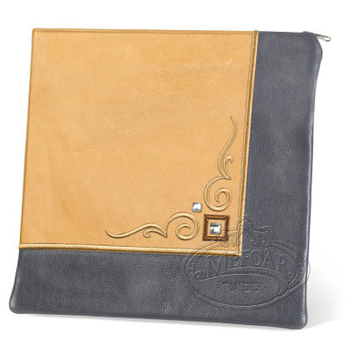 Aristocratic Motifs, Modern Style Tallis / Tefillin Bag, Grey/Camel, LL