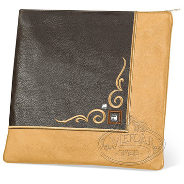 Aristocratic Motifs, Modern Style Tallis / Tefillin Bag, Camel/Brown, LL
