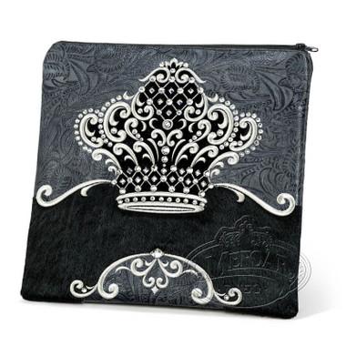 Sophisticated Beauty, Decorative Style Tallis / Tefillin Bag, Grey Exotic/Black Fur, FE
