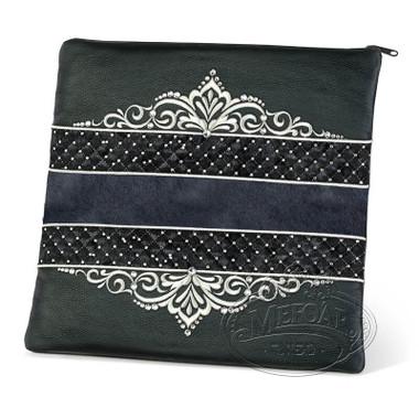 Intricate Detail, Decorative Style Tallis / Tefillin Bag, Black/Grey Fur, LF