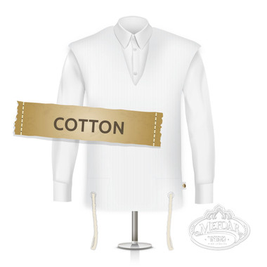 Cotton Tzitzis, V Neck, Ashkenaz (One Hole), Thick Strings (Talis), Size:22