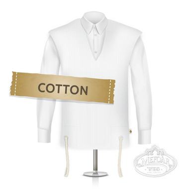 Cotton Tzitzis, V Neck, Ashkenaz (One Hole), Thick Strings (Talis), Size:28