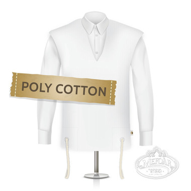 Poly Cotton Tzitzis, V Neck, Chasidish (Two Holes), No Tzitzis Strings, Size:8