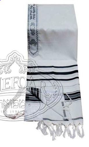 Acrylic Tallis - Black with Silver Stripes