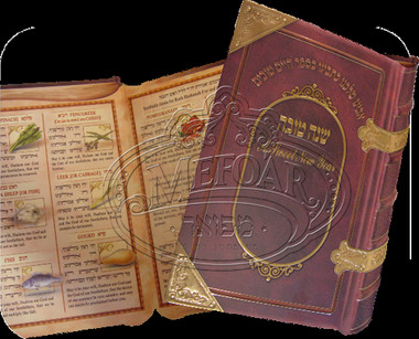 Simanim Card Looks Like a Book With Hebrew ONLY