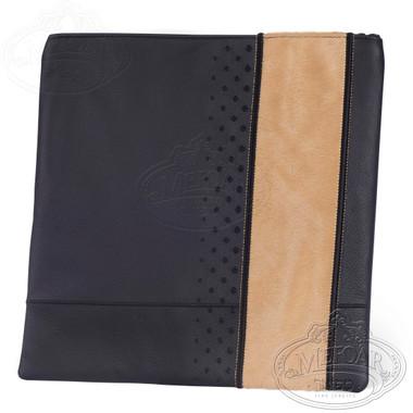 Exquisite Artistry, Elegant Style Tallis / Tefillin Bag, Black/Camel Leather/Fur