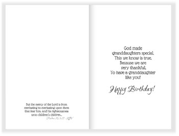 Granddaughter Birthday - KJV Scripture Greeting Card 5x7