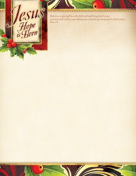 KJV Letterhead Paper - Christmas, Jesus - Hope Is Born