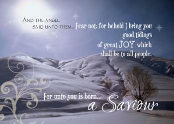 """Christmas Winter Scene - 5"""" x 7"""" KJV Greeting Card"""