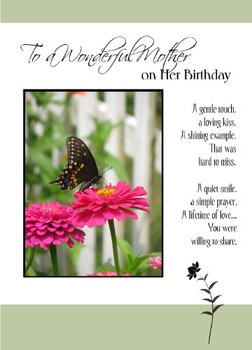 """To a Wonderful Mother on her Birthday - 5"""" x 7"""" KJV Greeting Card"""