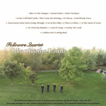 Worthy The Lamb CD by Followers Quartet