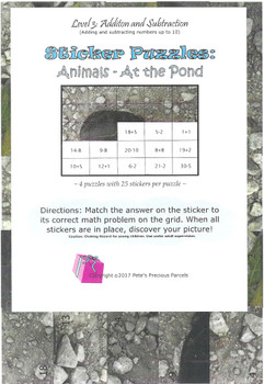 Sticker Puzzles - At the Pond - Level 3 (Addition/Subtraction)