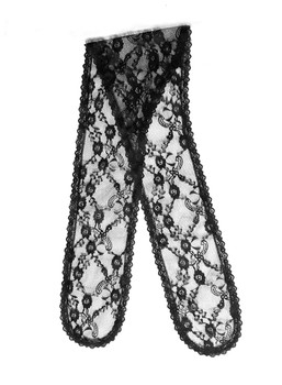 Prayer Veil - Black Lace - Twin Floral Lattice - Chapel