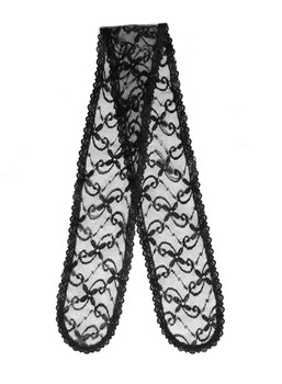Prayer Veil - Black Lace - Daisy Twirls - Straight