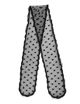 "Prayer Veil - Black Lace - Dancing Droplets - 3 1/2"" - Straight"