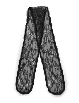 "Prayer Veil - Black Lace - Rose Garden - 3 1/2"" - Straight"