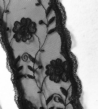 "Prayer Veil - Black Lace - Floral Medley - 3 1/2"" - Straight"