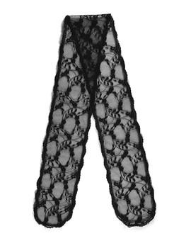 "Prayer Veil - Black Lace - Woven Blooms - 3 1/2"" - Straight"