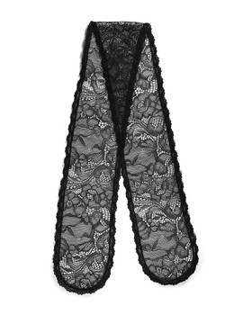 "Prayer Veil - Black Lace - Meadow Blossoms - 3 1/2"" - Straight"