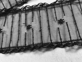 "Prayer Veil - Black Lace - Simple Stripes - 3 1/2"" - Chapel"