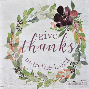 "Thankful Plum Wreath - Luncheon Napkins with KJV Bible Verse - 6.5"" x 6.5"" (20/pkg)"