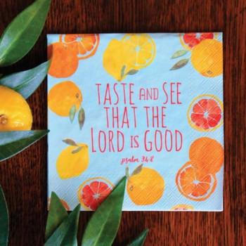 """Fruitful Sunshine - Cocktail Napkins with KJV Bible Verse - 5 x 5"""" (20/pkg)"""