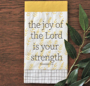 """The Joy of the Lord - Rectangle Guest Towel Napkins with KJV Bible Verse - 8.25 x 4.25"""" (16/pkg)"""