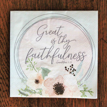 """Great is Thy Faithfulness - Luncheon Napkins with KJV Bible Verse - 6.5"""" x 6.5"""" (20/pkg)"""