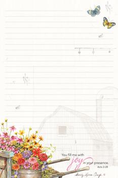 Garden Wheelbarrow - Stationery Pad - by Heartwarming Thoughts