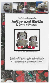 Sticker Puzzles - Arfur and Rufie Enjoy the Flowers! Level 2 (matching numbers)