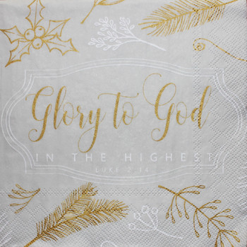 "Glory to God - Christmas Luncheon Napkins with KJV Bible Verse - 6.5"" x 6.5"" (20/pkg)"
