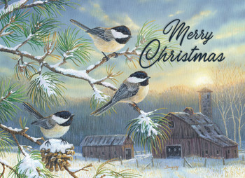 KJV Boxed Cards - Christmas, Farmland Chickadees by Heartwarming Thought