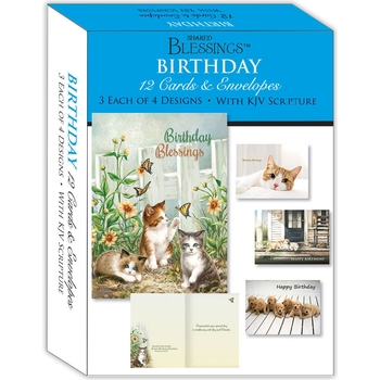 KJV Boxed Cards - Birthday IV (Puppies and Kittens) by Shared Blessings