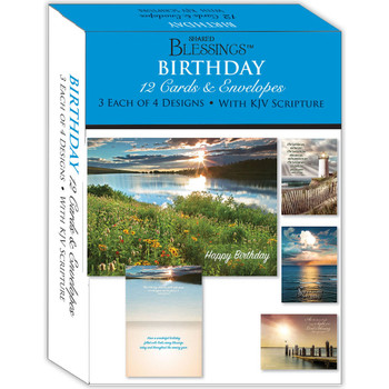 KJV Boxed Cards - Birthday VII (Lake Sunsets) by Shared Blessings