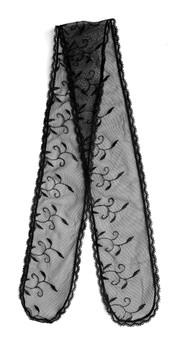 "Prayer Veil - Black Lace - Willow Vines - 3 1/2"" - Straight"