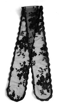"""Prayer Veil - Black Lace - Bridal Bouquet - 3 1/2"""" - Straight"""