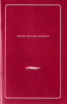 Keeping the Same Judgments - Book
