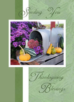 """Sending You Thanksgiving Blessings - 5"""" x 7"""" KJV Greeting Card"""