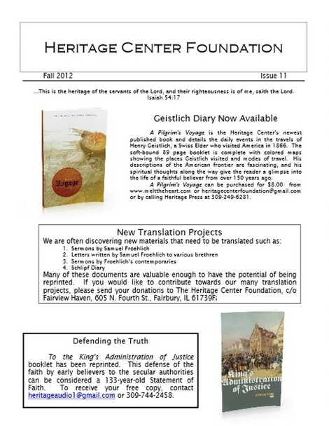 Heritage Center Foundation Newsletter