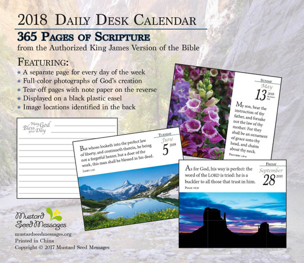 Verse for the Day - 2018 Daily Desk Calendar - 365 page KJV Scriptures on Inspirational Calendar - Back