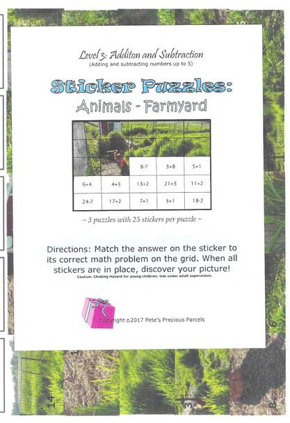 Sticker Puzzles - Farmyard - Level 3 (Addition/Subtraction)