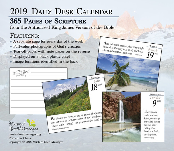 Bible Verse for the Day - 365 Pages Daily Desk Calendar 2019 - KJV Scripture