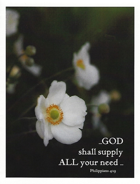 God Shall Supply all Your Need - 5 Blank Notecards