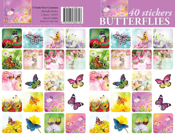 Butterfly Stickers - 2 sheets