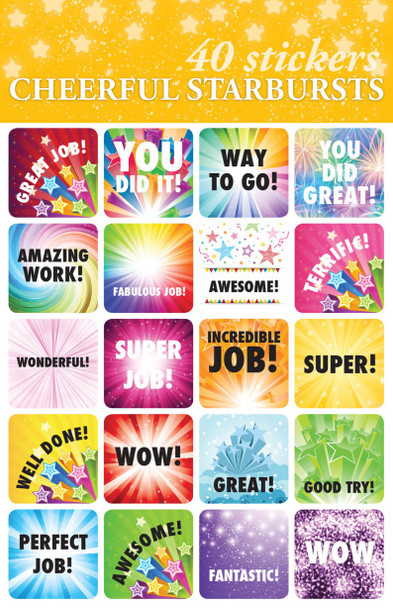 Cheerful Starbursts Stickers - 2 sheets