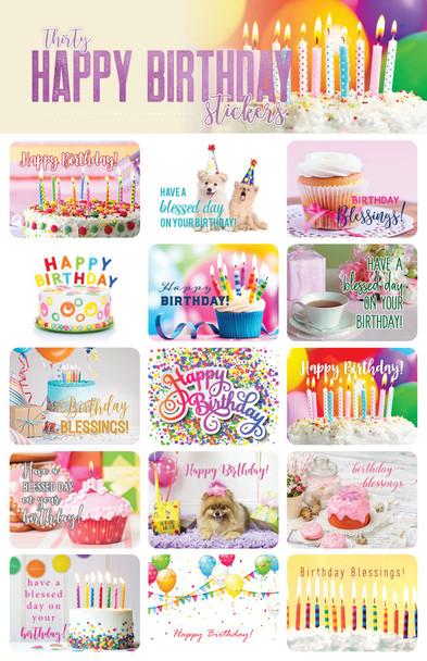 Happy Birthday Stickers - 2 sheets